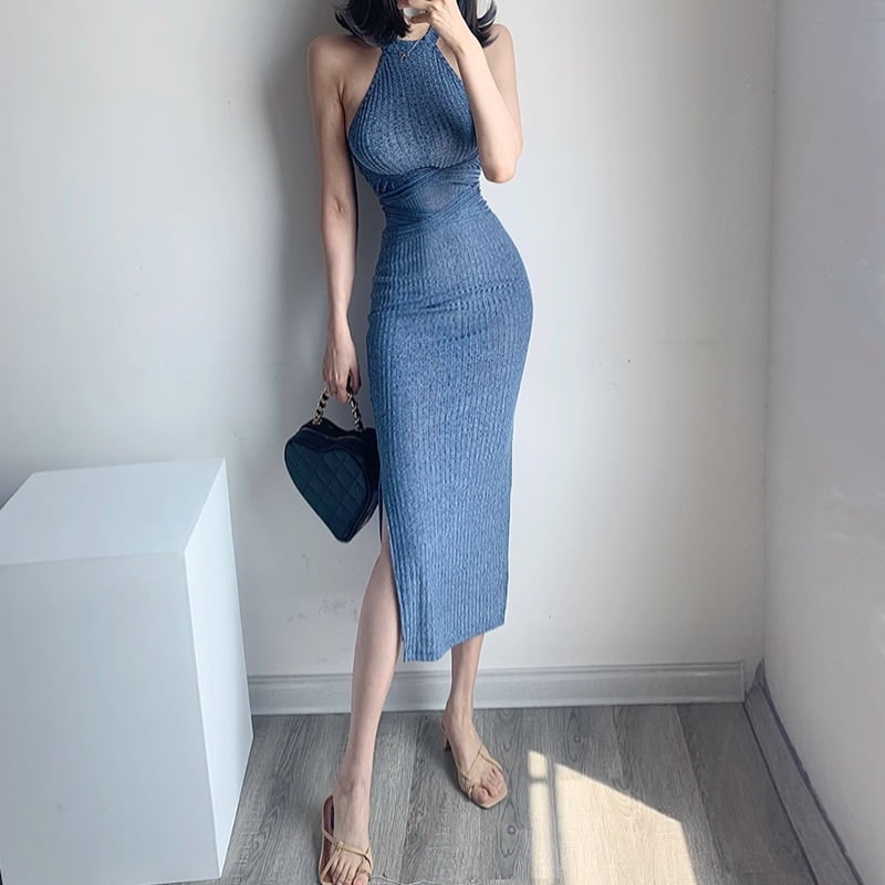 summer clothes sexy bodycon dress club outfits for women birthday 2021 elegantes prom dresses long dresses backless blue dress