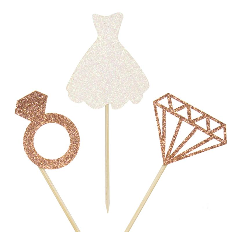 12pcs Bride To Be Cake Cupcake Toppers 3D Diamond Ring Wedding Dress For Engagement Bridal Shower Bachelorette Hen Party Decor