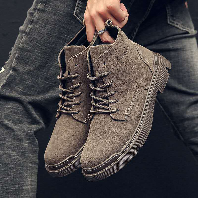 2020 New Men Boots Leather Waterproof Lace Up  Boots Men Winter Ankle Lightweight Shoes for Men Winter Casual Non Slip NanX294